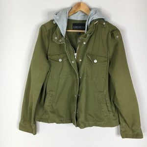 Forever 21 Green Cargo Utility Hooded Zip Jacket